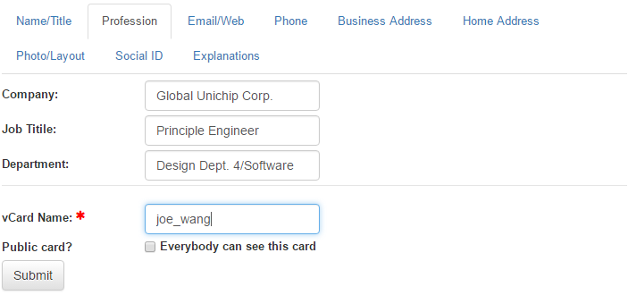 Getting started after you submit the new vcard form you will see the newly created business card in vcard list table you can also access the table from the user menu reheart Image collections